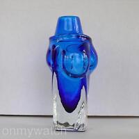 "Vtg SIGNED Art Glass VASE 8¾"" Daniel Hertzson CAAMORA GLASSWORKS Cobalt Blue '91"