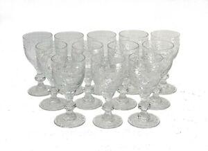12 William Yeoward Intaglio Cut Isabel Crystal Wine Glasses 5 in. tall