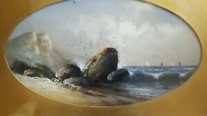"Vintage Pastel Seascape Rocks Scene Matted Signed H.M. or M.H. Framed sz 19""x27"""