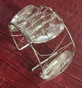"""Handmade Crystal Cuff Bracelet- Wire Wrapped Jewelry- Crystal QUARTZ 6.5""""/1.25"""""""