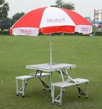 Portable Aluminium Picnic Table + WIth Free Umbrella