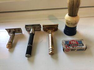 Antique Razor Lot Gillette Ever Ready Brush Safety Razor Adjustable Gold Black