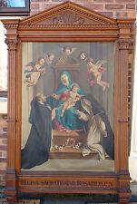 Pintura al óleo antigua Iglesia Católica-Marco De Roble Tallado-Mary Jesus & Con Querubines