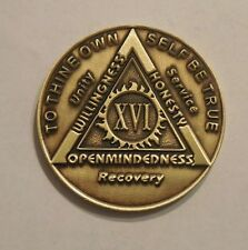 aa bronze alcoholics anonymous 16 year sobriety chip coin token medallion NEW