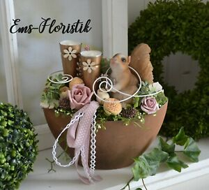 🌷 Tischgesteck Herbst Schiffchen in Rostoptik 24 cm Eichhörnchen