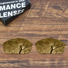 T.A.N Polarized Replacement Lenses for-Oakley Flak Jacket Peach Gold Mirrored