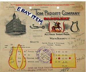 1924 BILLHEAD Tom Padgitt Waco Texas SADDLE MAKER saddlery HAND MADE SPURS Shin