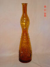"20"" VIMAX Italy Tall Genie Art Glass Amber Bottle Woman Face Vintage Mid Century"