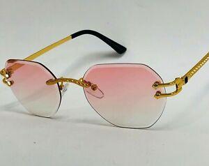 Gafas De Sol Lentes Para Hombres Mujeres Gold Hip Hop men Women Sunglasses Pink