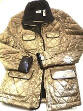 L.L. Bean Womens Diamond Quilted Jacket XS Khaki Bronze Lined  |  IMPECCABLE!