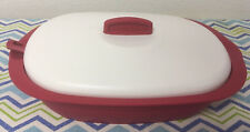 Tupperware Legacy Rice Serving Dish with Spoon 7 ¼ cup Red w/ Ivory Seal New