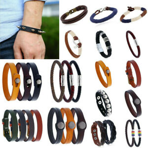 Punk Mens Leather Braided Rivets Bracelet Bangle Surfer Wristband Cuff Jewelry