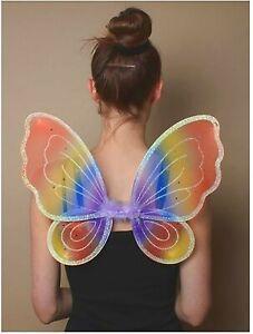 Childs Small Rainbow Glitter Fairy Wings Fancy Dress Toddler Kids Butterfly Wing