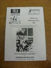17/12/1994 Basketball Programme: Hemel Royals v Birmingham Bullets - Hand Signed