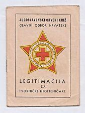 YUGOSLAVIA - RED CROSS - FACTORY HYGIENIST LEGITIMATION - Zagreb 1949