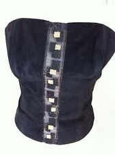 Leather Suede Corset Top Black Size Small