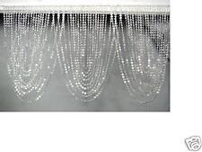 Iridescent Diamond Cut Acrylic Crystal Window Valance - Triple Swag Curtain