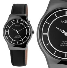 Herren Armbanduhr Anthrazit/Schwarz 3ATM Kunstlederarmband von AKZENT