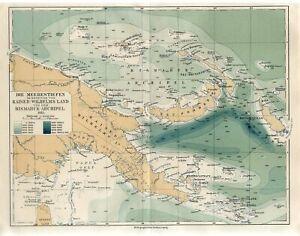 1912 PAPUA NEW GUINEA BISMARCK ARCHIPELAGO NEW BRITAIN MELANESIA Antique Map