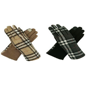 Women Ladies Winter Cashmere Gloves Fashion Cosy Featuring Tartan Check Printing