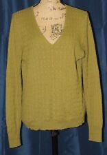 J. Crew Olive Green Cable Knit V-Neck Line sleeve Wool sweater Large RC21