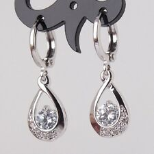 Women New Fashion 925 Silver Jewelry White CZ Studs Dangle Hoop Earring Gift
