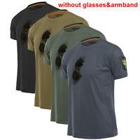 Men's Quick Dry Crew Neck T-Shirt Military Tactical Summer Short Sleeve Tee ZX