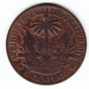 HAITI 1 centime 1881 KM42 Bronze 1-year type ABOVE AVERAGE minted 830,000 RARE !