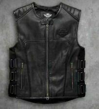 Men's Vest Black Biker Swat Harley Motorcycle Genuine Leather Gun Pocket vest