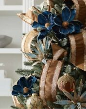 Balsam Hill Magnolia Picks Set 12 Navy Blue Copper Flower Christmas Tree Decor