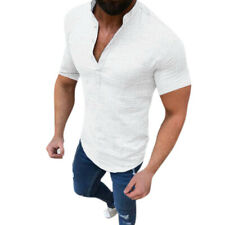 Men Henley Short Sleeve Shirt Casual T Shirt Summer Grandad Collared Top Blouse