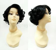 Pre-Trimmed Lace Front Short Black Curly Wig Heat Resistant Retro Vintage Style