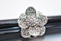 Statement Cocktail 8 Ring Sparkling Rhinestone Crystal Flower Silver Tone Bin7