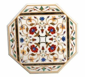 Italian White Marble Center Coffee Table Carnelian Stone Floral Inlay Art Decors