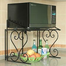2-Tier Microwave Oven Rack Kitchen Counter Cabinet Storage Metal Shelf  *