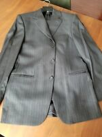 100% Wool Italian Loro Piana Suit 2pc 3btn grey pinstripe double vent 48R=38R US