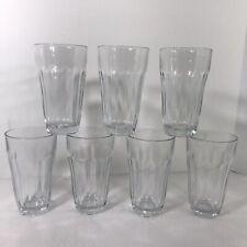 Vintage Pasabahce PALAKS Set of 7 Tumblers 10 Panel Glass Turkey