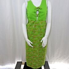True Vintage 60's Design House Neon Green M Hippie Pinafore Apron Dress Maxi