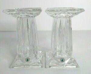 PartyLite Quad Prism Pedestal Candle Holder Lead Crystal Square Pillar Vase Gift