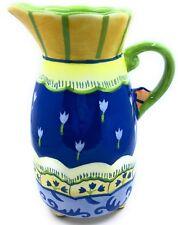Ceramic Pitcher Blue & Green Flowers Cupcakes & Cartwheels Kimberly Hodges