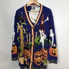 Storybrook Knits 1X Halloween Sweater Cardigan Plus Size Pumpkins