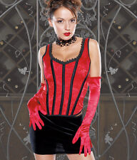 Sexy Lingerie Coquette Red Brocade and Lycra Bustier Corset w Boning