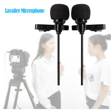 Professional Dual-Headed Lavalier Microphone W/ Windshields For DSLR Cameras iOS