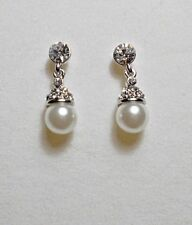 Dangle stud earrings,white pearl + crystals, 19mm long