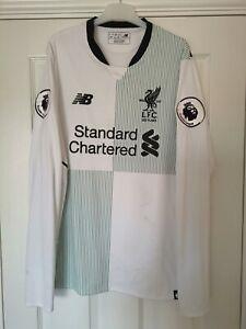 Liverpool 2017-2018 Away Football Shirt White Long Sleeve PL Badges Size Medium