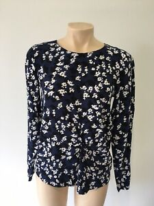 Trenery Size XXS Blue White BlackFloral  Long Sleeved Top