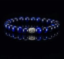 Herren Armband Blauer Tigerauge Mode Fashion Halbedelstein Perlenarmband Rund