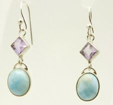 Larimar Amethyst 925 Sterling Silver Gemstone Earrings