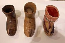 3 Vintage Wood Carved Woven Leather Elf Boot Shoe Yugoslavia ToothPick Holder Ec