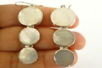 White Mother of Pearl 3 Stone Trio 925 Sterling Silver Dangle Hook Earrings